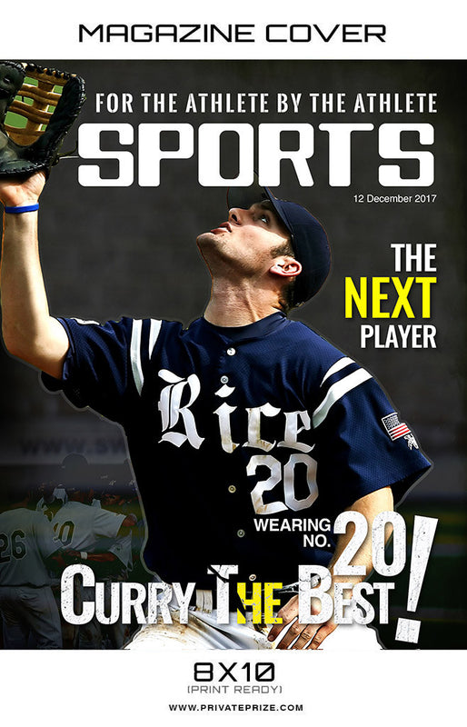 Magazine-Sports Photography- Baseball Magazine Cover - Photography Photoshop Template