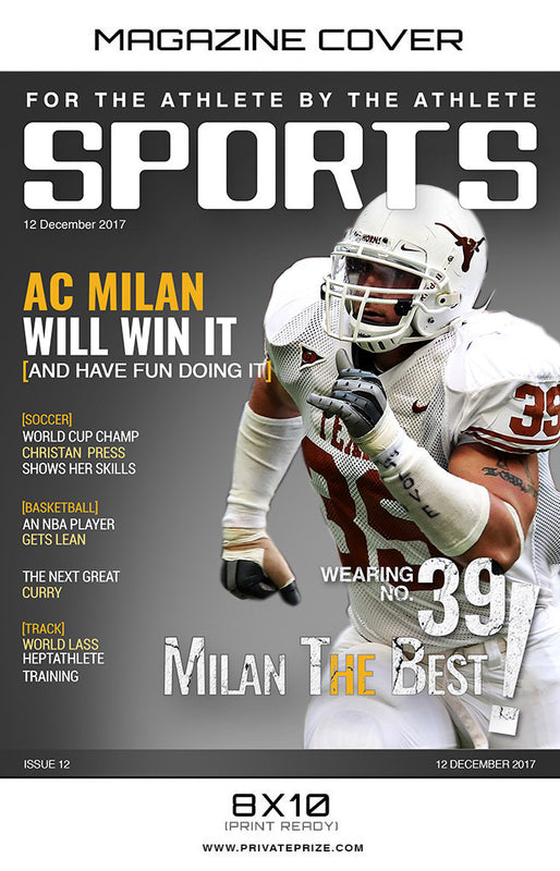 Milan  - Sports Photography-Magazine Cover - Photography Photoshop Template