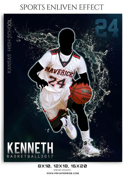 Kenneth- Basketball 2017- Sports Photography-Enliven Effects - Photography Photoshop Template