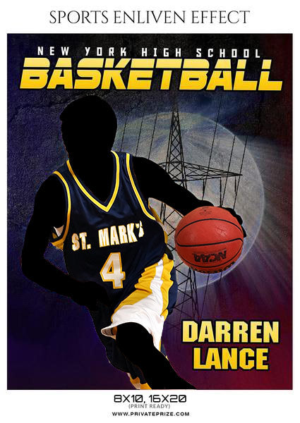 Darren Lance Basketball Sports Enliven Effects Photoshop Template