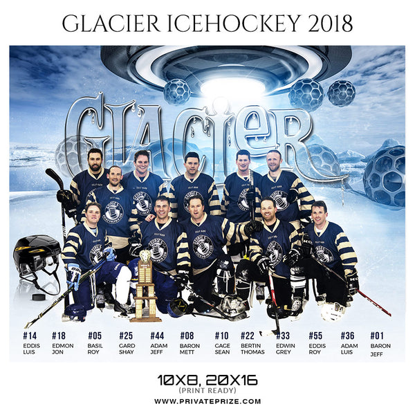 Glacier Ice Hockey Theme - Sports Photography Template - Photography Photoshop Template