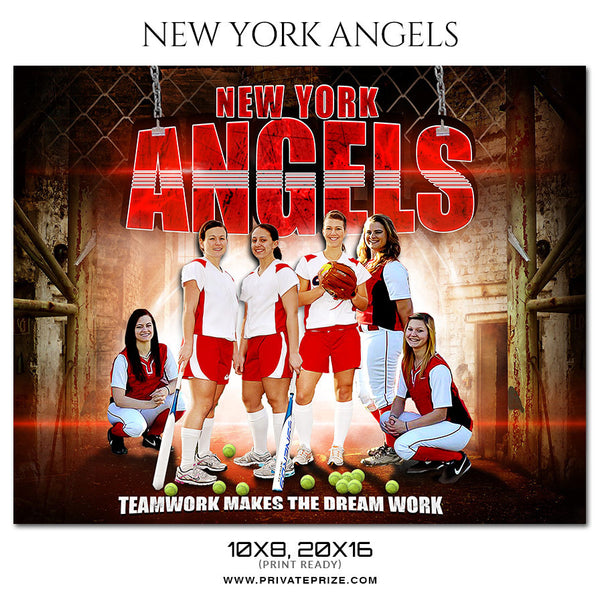 NEW YORK ANGELS Softball Themed Sports Photography Template