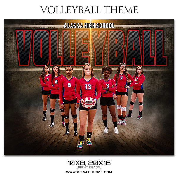 Volleyball Themed Sports Photoshop Template - Photography Photoshop Template