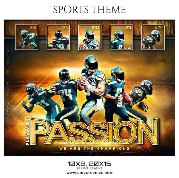 Play with passion - Football Themed Sports Photography Template