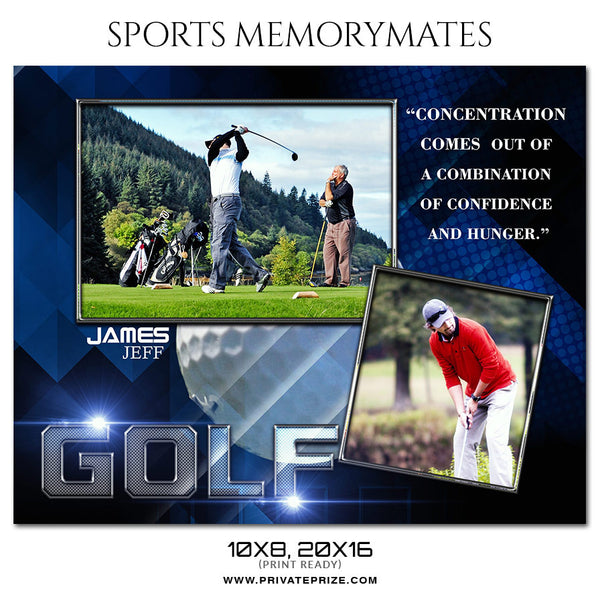 JAMES JEFF GOLF -  SPORTS PHOTOGRAPHY MEMORY MATE - Photography Photoshop Template