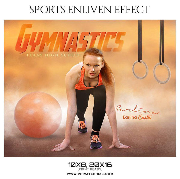Earlina Curtis - Gymnastics Sports Enliven Effect Photography Template - Photography Photoshop Template