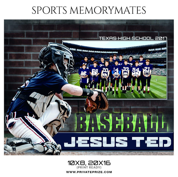 Baseball Sports MemoryMate Photoshop Template