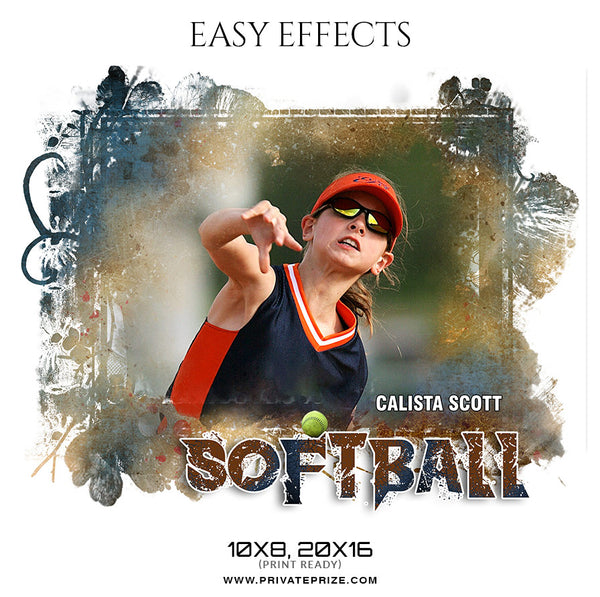 Calista Scott  - Softball Easy Effect Sports Photography Template - Photography Photoshop Template