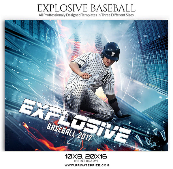 Explosive Themed Sports Template -sports photography photoshop templates