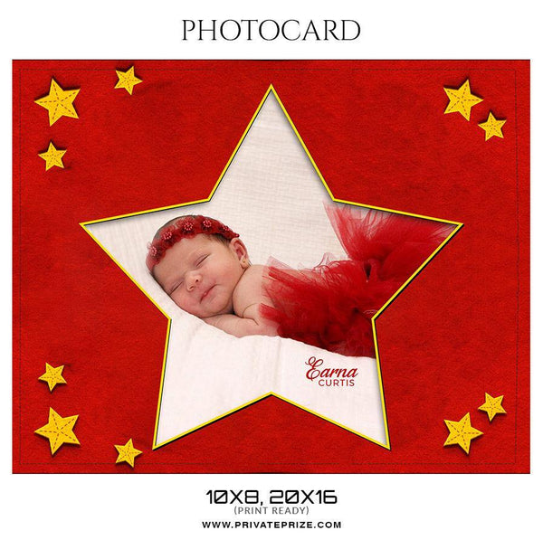 Earna Curtis - New Born Photo Card - Photography Photoshop Template