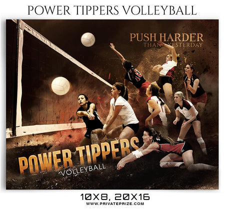 Power Tippers Volleyball Sports Photoshop Template - Photography Photoshop Template