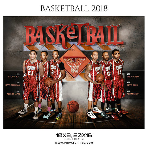 Basketball Theme 2018 Sports Photoshop Template - Photography Photoshop Template
