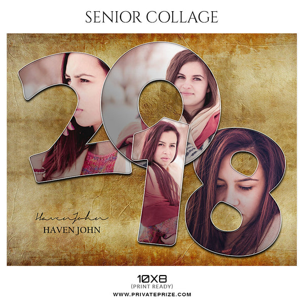 Haven John - Senior Collage Photography Template - Photography Photoshop Template