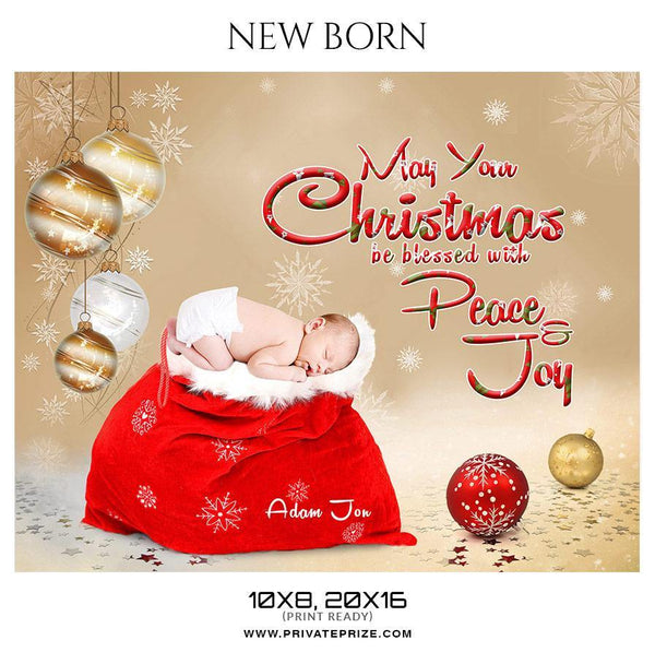 Adam Jon - Christmas New Born Photography Digital Backdrop - Photography Photoshop Template