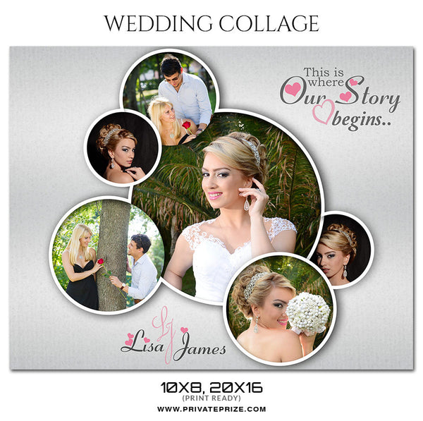 LISA AND JAMES - WEDDING COLLAGE - PrivatePrize Photography Photoshop Templates