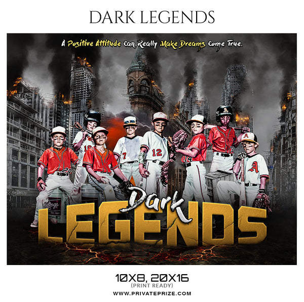 Dark Legends Baseball Themed Sports Photography Template - Photography Photoshop Template