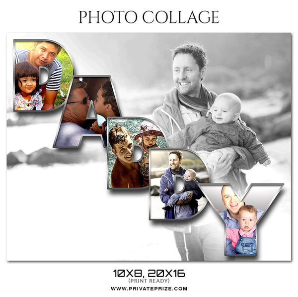 DADDY - Father's Day - COLLAGE PHOTOGRAPHY TEMPLATE - Photography Photoshop Template