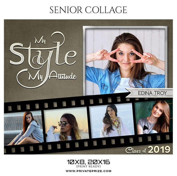Edina Troy - Senior Collage Photography Template - Photography Photoshop Template