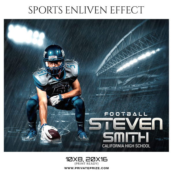 Steven Smith Football-Sports Enliven Effect Photography Template - Photography Photoshop Template