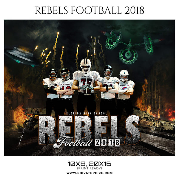 Rebels Football 2018 Themed Sports Photography Template - Photography Photoshop Template
