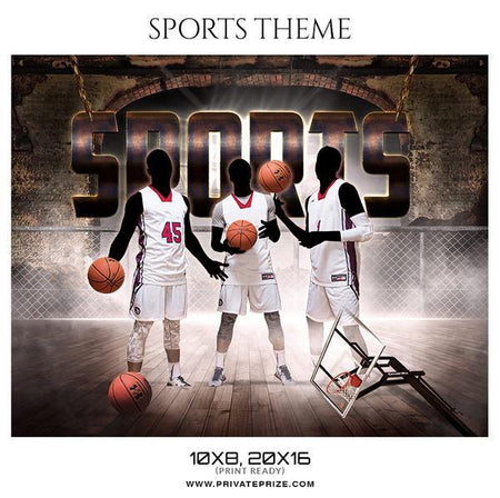 Sports - Basketball Theme Sports Photography Template - Photography Photoshop Template