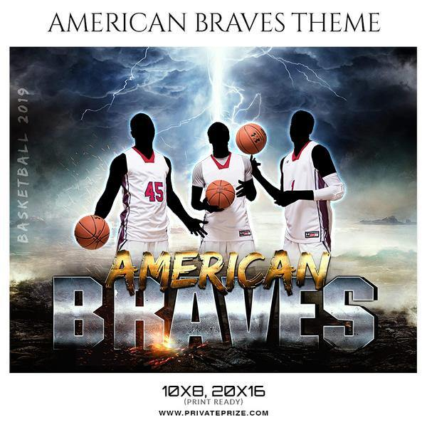 American Braves  - Basketball Theme Sports Photography Template