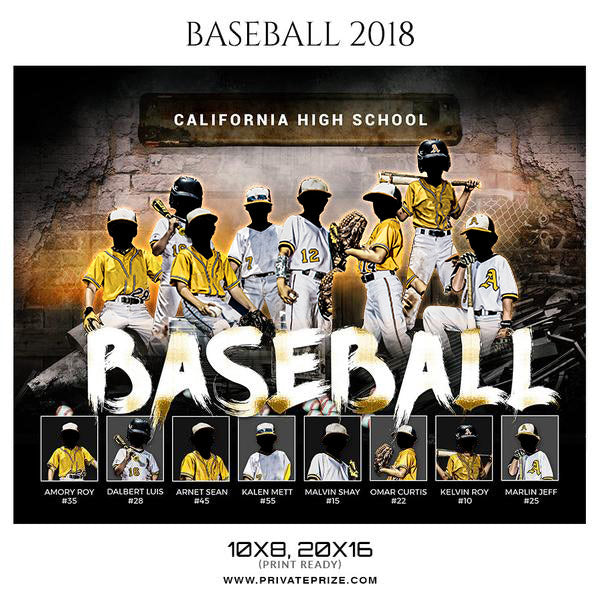 California High School Baseball Themed Sports Photography Template