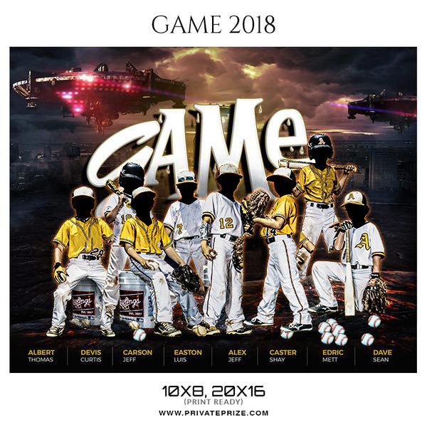 Game Baseball Themed Sports Photography Template