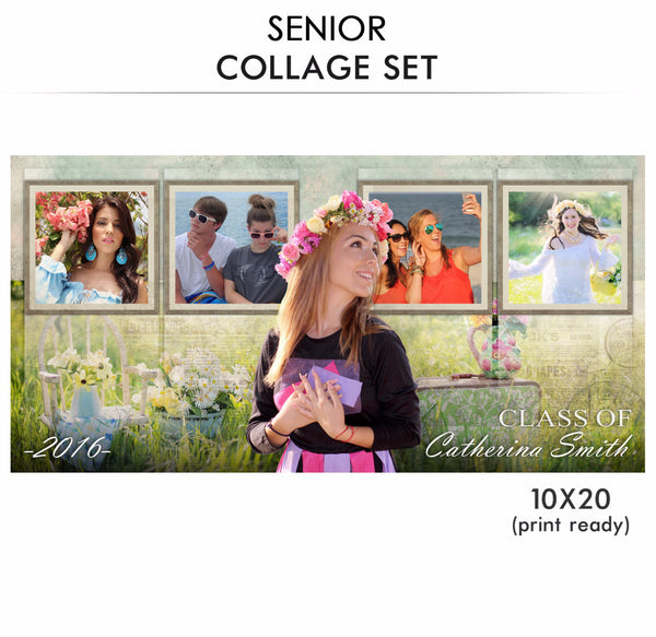 Catherina -Senior Collage Photoshop Template - Photography Photoshop Templates