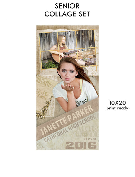 Janette- Senior Collage Photoshop Template - Photography Photoshop Templates