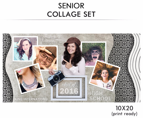 Smile King-Senior Collage Photoshop Template - Photography Photoshop Templates