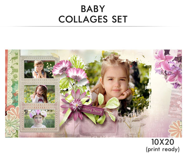 Baby Collage Set - Amazing Beauty - Photography Photoshop Templates