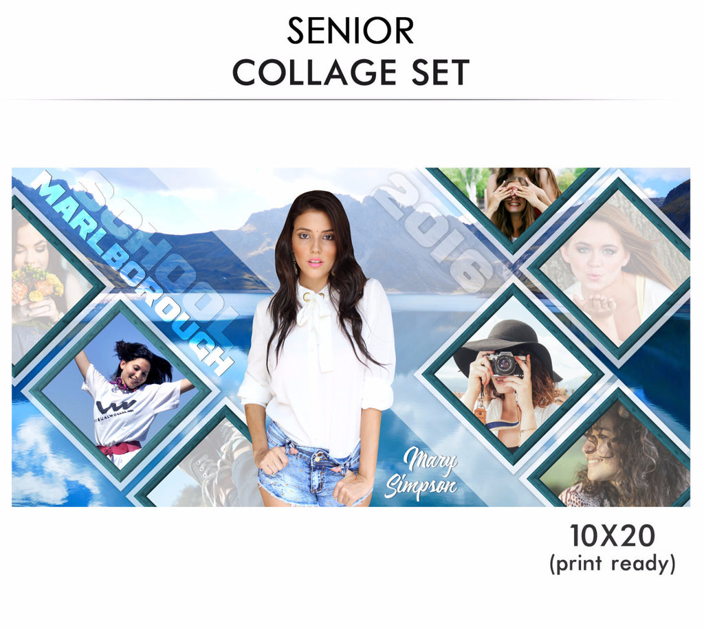 Mary senior collage photoshop template for Senior photo collage templates