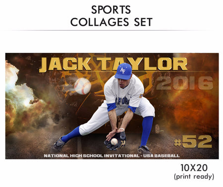 Taylor- Sports Collage Photoshop Template - Photography Photoshop Template