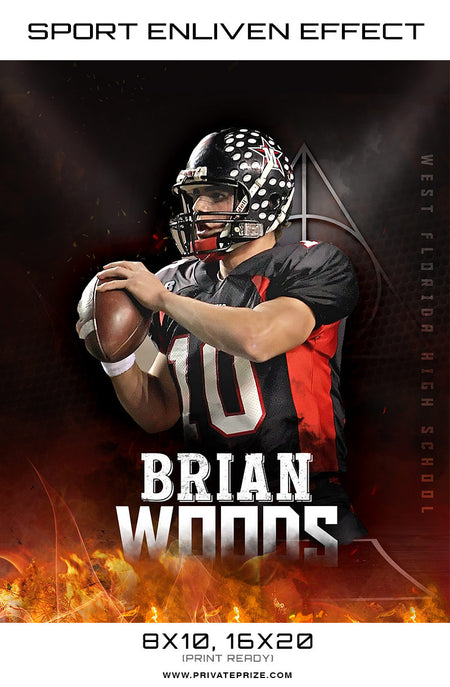 Brian Woods  - Football Themed Sports Photography Template - Photography Photoshop Template