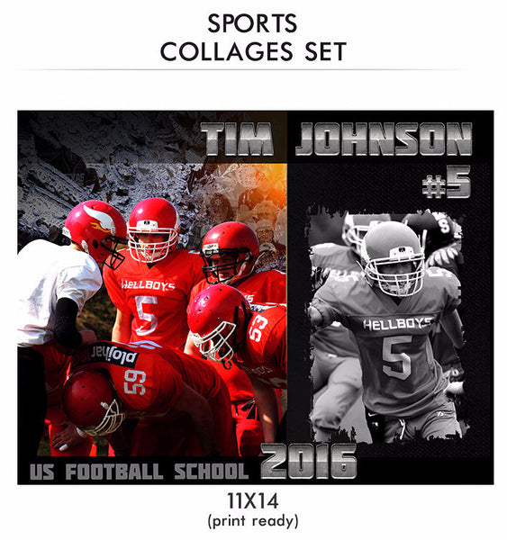 Tim - Sports Collage Photoshop Template - Photography Photoshop Templates