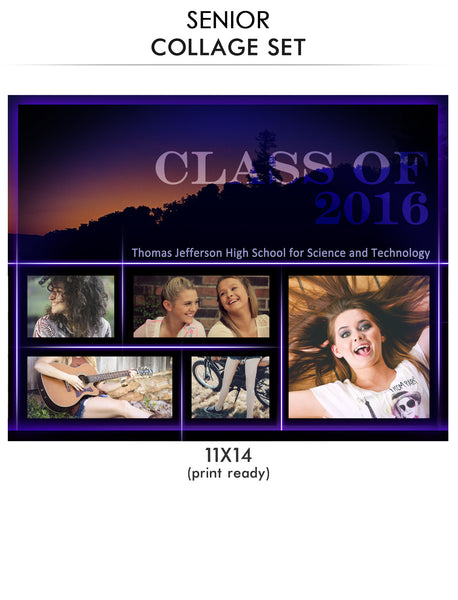 Jefferson-Senior Collage Photoshop Template - Photography Photoshop Templates