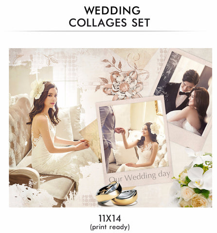 Wedding Collages Set - Just Married - Photography Photoshop Templates