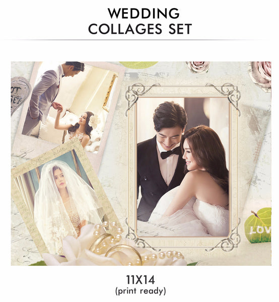 Wedding Collage Set - Love Moments - Photography Photoshop Templates