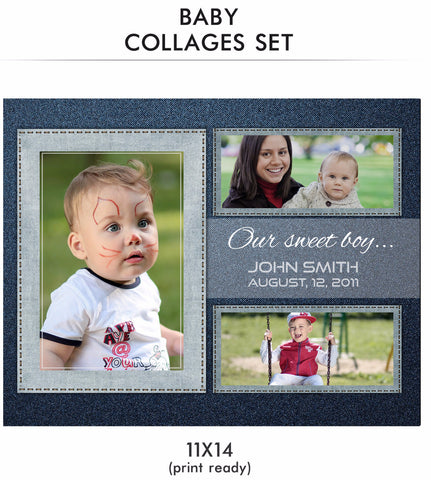 Baby Collage Set - John Baby - Photography Photoshop Templates