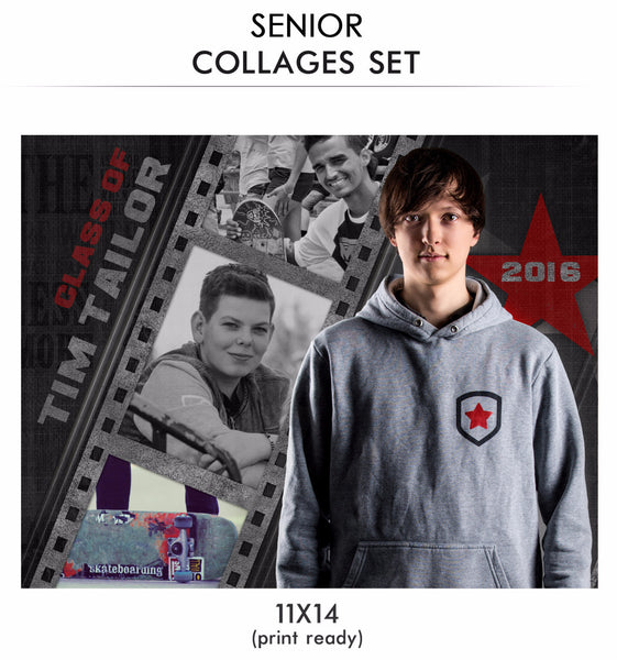 Tim -Senior Collage Photoshop Template - Photography Photoshop Templates