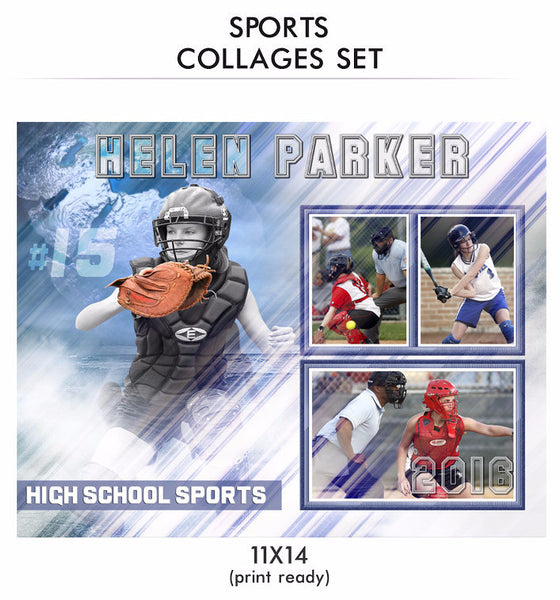 Helen - Sports Collage Photoshop Template - Photography Photoshop Templates