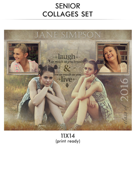 Jane -Senior Collage Photoshop Template - Photography Photoshop Templates
