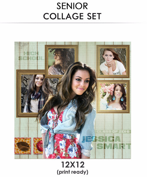 Jessica senior collage photoshop template for Senior photo collage templates