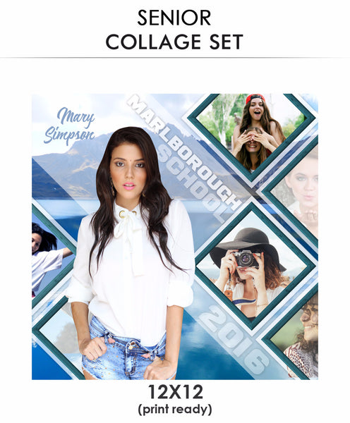 Mary  - Senior Collage Photoshop Template - Photography Photoshop Templates