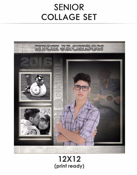 senior photo collage templates - nick senior collage photoshop template