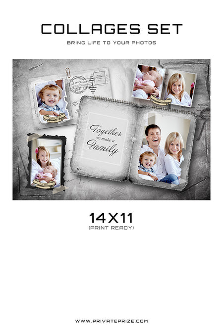Family Collage - Vintage Silver - Photography Photoshop Template