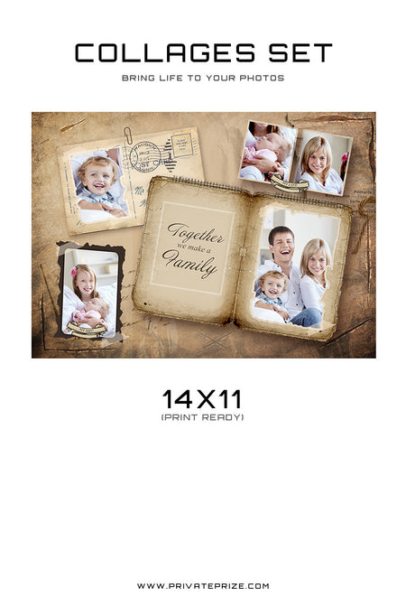 Family Collage - Vintage Times - Photography Photoshop Template