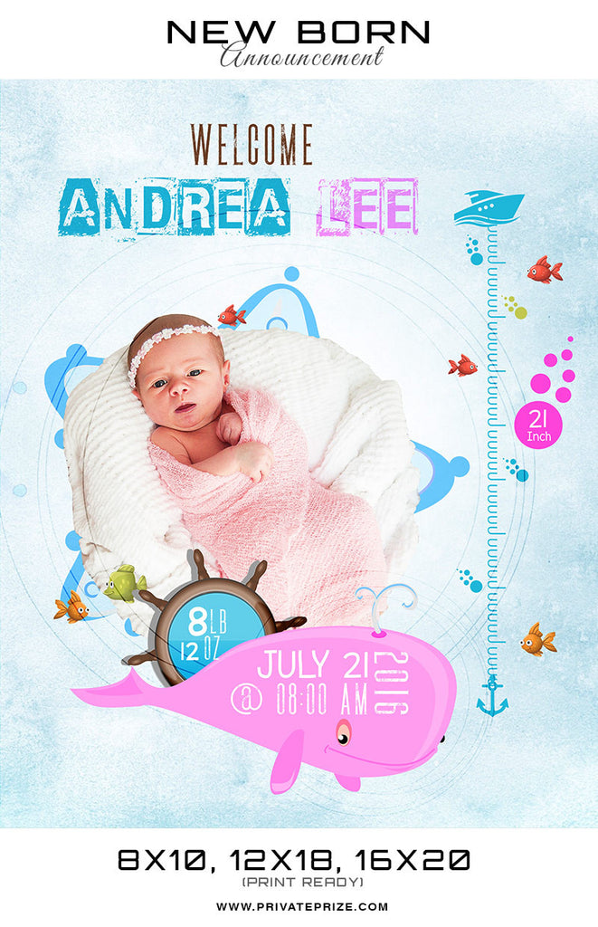 New Born Announcement - Under Water Theme - Photography Photoshop Templates