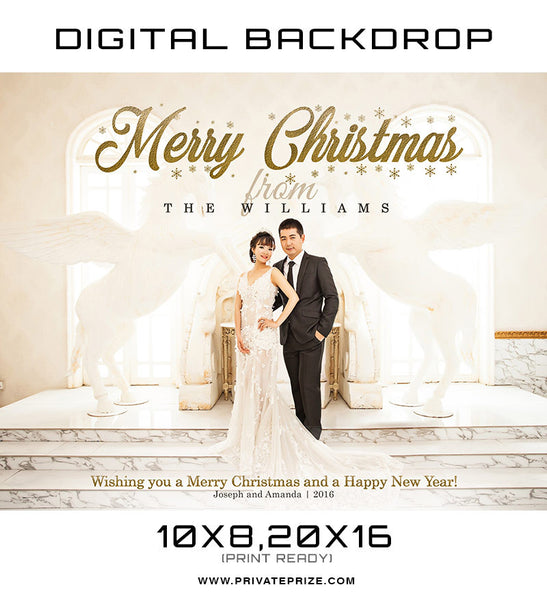 Merry Christmas The Williams Digital Backdrop Template - Photography Photoshop Templates